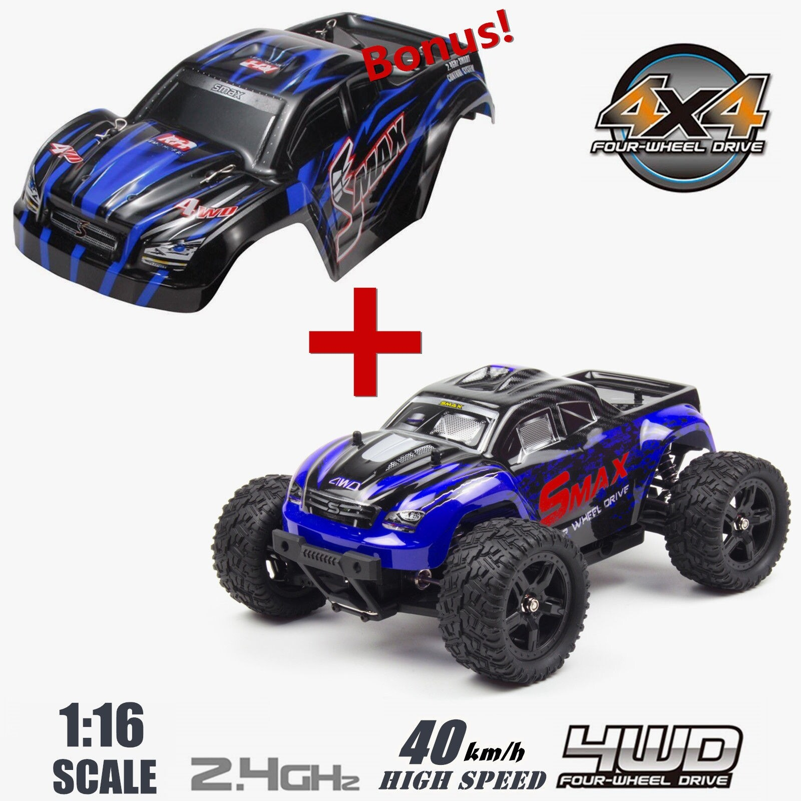 REMO 1/16 Scale RC Bigfoot Truck 4WD Remote Control Car Off-Road Vehicle  with Extral Car Shell Blue/Red Gift