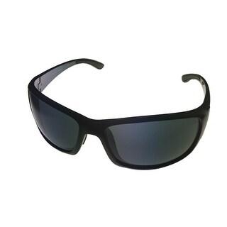 Perry Ellis Mens Sunglass PE05 2 Crystal Black Plastic Wrap, Solid Smoke Lens - Medium