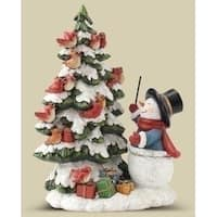 "7.25"" Vibrantly Colored Snowman Bird Choir Christmas Table Top Decoration - WHITE"
