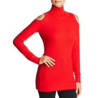 Three Dots Women's Tencel Cold Shoulder Turtleneck Pullover Sweater