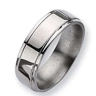 Chisel Ridged Edge Polished Titanium Ring (7.0 mm)