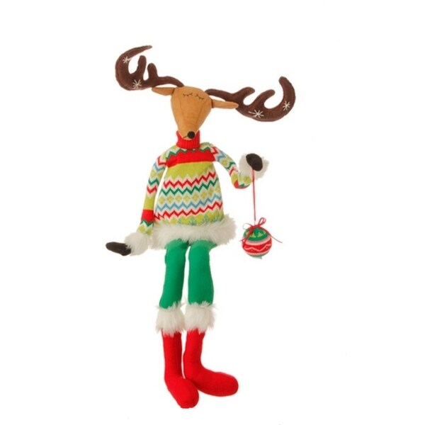 """36"""" Merry & Bright Plush Sitting Reindeer Christmas Decoration with Posable Arms and Antlers"""