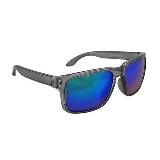 Sport Sunglasses with Clear Smoke Frames/Blue Anti Glare Lenses - Black