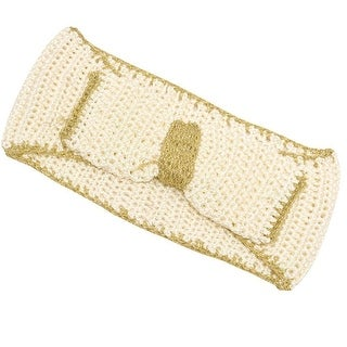 Fashion Headband Womens Ivory Gold Two Tone Bow Accent Crochet Headband