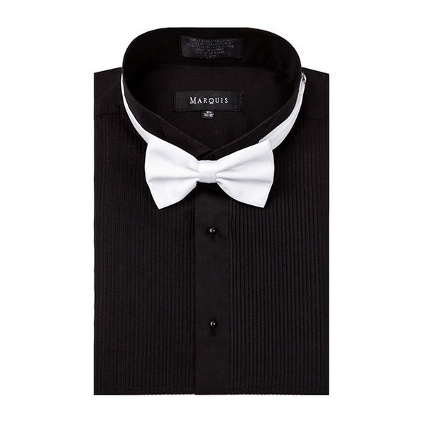 Marquis wing tip collar tuxedo dress shirt with bow tie. Opens flyout.