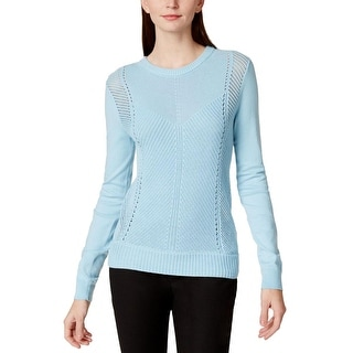 Vince Camuto Womens Crewneck Sweater Cotton Knit