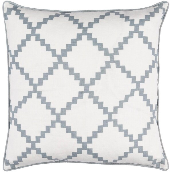 "18"" Milky White and Ash Gray Woven Screen Printed Square Throw Pillow - Down Filler"
