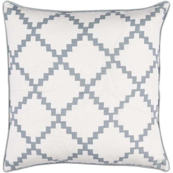 "22"" Milky White and Ash Gray Woven Screen Printed Decorative Square Throw Pillow"