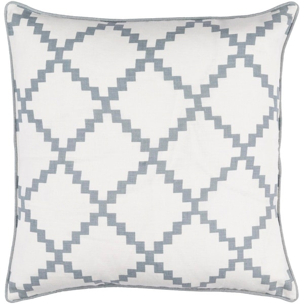 "22"" Milky White and Ash Gray Woven Screen Printed Square Throw Pillow - Down Filler"