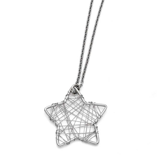 Chisel Stainless Steel Wired Star Polished Necklace (1.5 mm) - 18 in