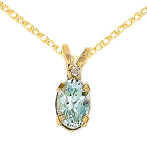 14K Yellow Gold Diamond And Aquamarine Birthstone Pendant on 18-inch Cable Rope Chain by Versil
