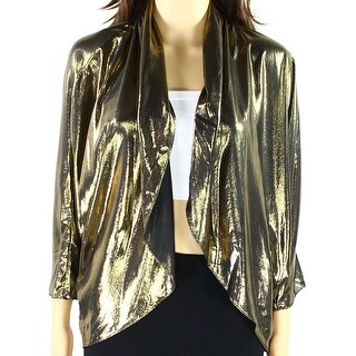 MSK NEW Gold Women's Size Large L Metallic Open Front Shrug Jacket
