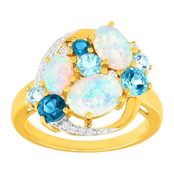 3 1/10 ct Created Opal, Blue Topaz & White Sapphire Ring in 14K Gold-Plated Sterling Silver
