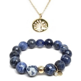 "Blue Sodalite 7"" Bracelet & Tree Of Life Gold Charm Necklace Set"