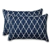 """Set of 2 Moroccan Gate Navy Blue and White Rectangular Corded Throw Pillows 24.5"""""""
