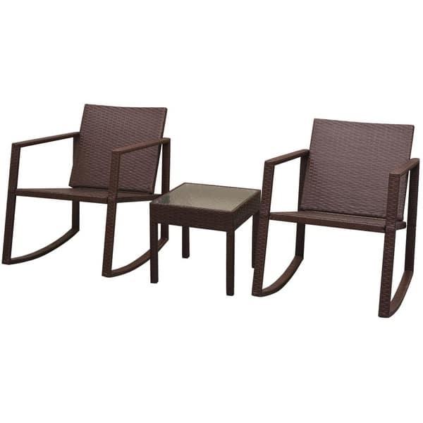 Peachy Shop Vidaxl Outdoor Rocking Chair Table 3 Piece Brown Garden Unemploymentrelief Wooden Chair Designs For Living Room Unemploymentrelieforg