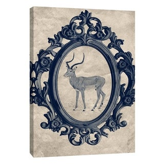 """PTM Images 9-105904  PTM Canvas Collection 10"""" x 8"""" - """"Framed Gazelle in Navy"""" Giclee Animals Art Print on Canvas"""