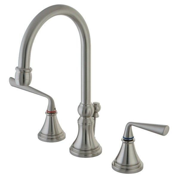 Kingston Brass KS298.ZL Silver Sage 1.2 GPM Widespread Bathroom Faucet with Pop-Up Drain Assembly and Metal Handles