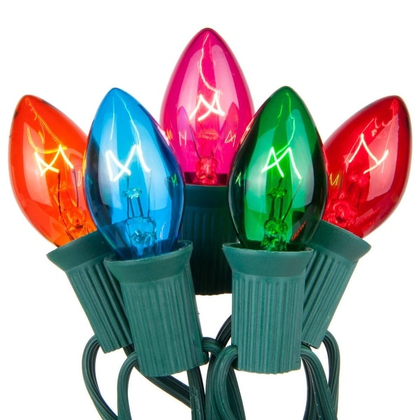 Wintergreen Lighting 19216 25 C7 5W Holiday Bulbs on Green Wire - Multi Color - N/A