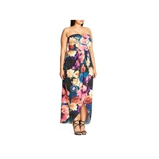 City Chic Womens Plus Secret Garden Maxi Dress Floral Print Strapless