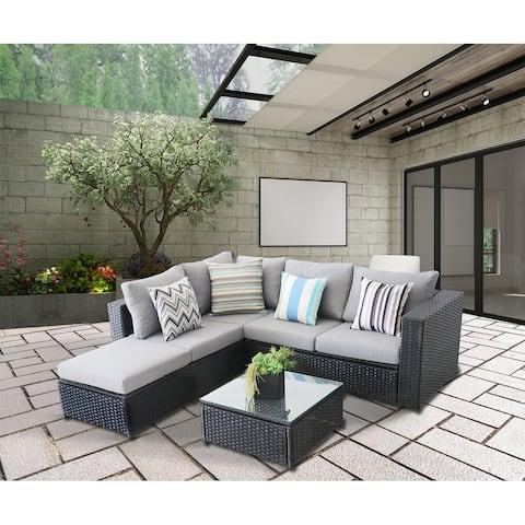 5 Pieces PE Wicker Rattan Corner Sofa Set black frame/grey cushions
