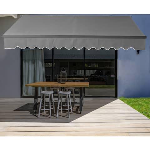 ALEKO Motorized 16'x10' Black Frame Retractable Home Patio Canopy Awning Grey