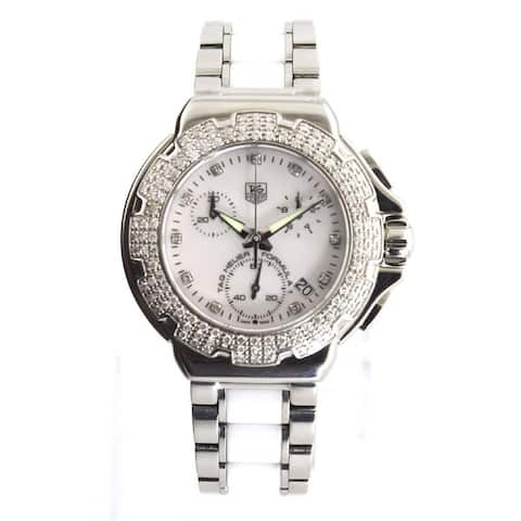 Tag Heuer Women's CAC1310.BA0861 'Formula 1' Diamond,Chronograph Two-Tone White Ceramic and Stainless Steel Watch - Silver