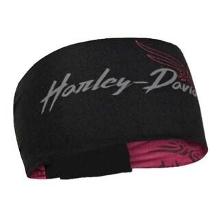Harley-Davidson Women's Edgy Reversible Headband, Black & Burgundy HP32181 - One size