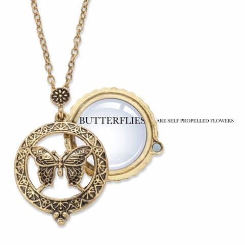 Goldtone Antiqued Butterfly Pendant (34mm) with 24 inch Chain