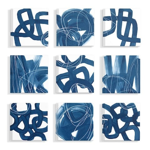 Stupell Industries Blue White Organic Shapes and Lines Abstract Painting Set,12x12,9pc, Canvas Wall Art