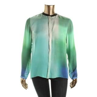 Elie Tahari Womens Silk Printed Button-Down Top - L