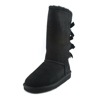 Ugg Australia Bailey Bow Tall Youth Round Toe Suede Black Winter Boot