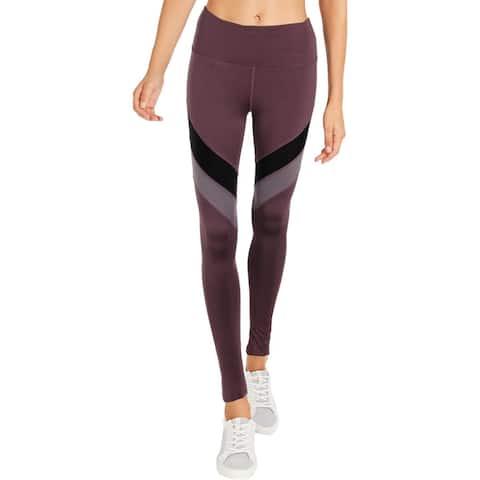 BCBG Max Azria Womens Athletic Leggings Colorblock High Shine