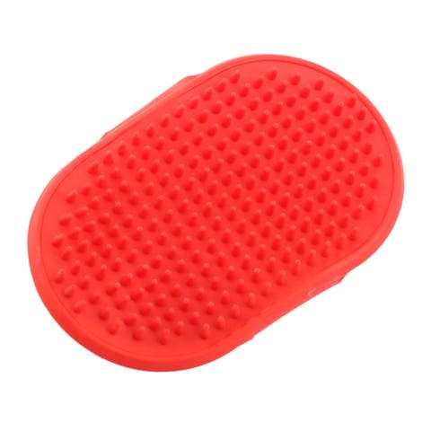 Rubber Adjustable Belt Bath Massage Grooming Hair Brush Comb Red for Pet Dog Cat