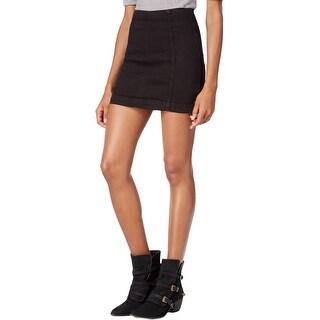 Free People Womens Denim Skirt Mini Zip-Up