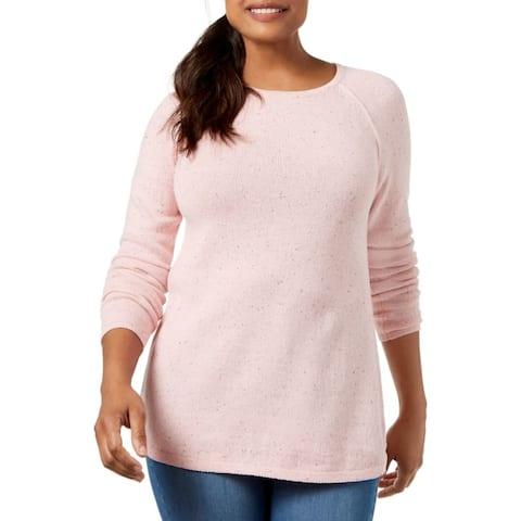Karen Scott Women's Curved-Hem Sweater Purple Size Extra Large