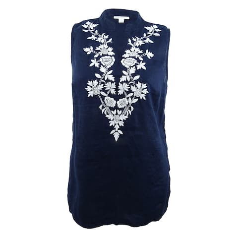 Charter Club Women's Embroidered Linen Tunic (L, Intrepid Blue) - Intrepid Blue - L