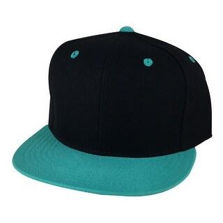 CapRobot Plain 2Tone Snapback Hat Cap - Black Aqua Blue ( Teal )