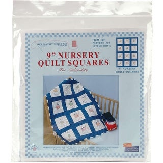 "Stamped White Nursery Quilt Blocks 9""X9"" 12/Pkg-Little Boys"