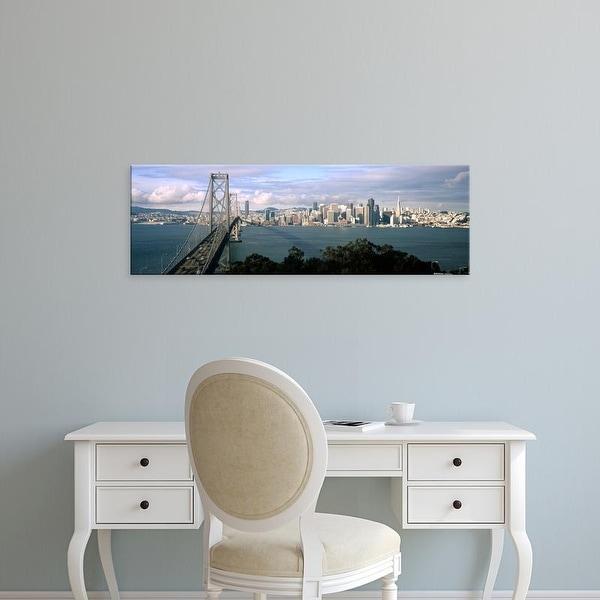Easy Art Prints Panoramic Image 'Bridge, City skyline, Bay Bridge, San Francisco Bay, California' Canvas Art