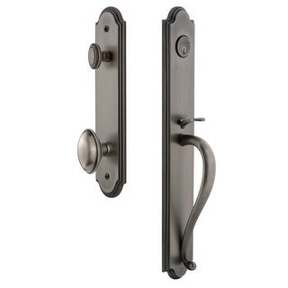 "Grandeur ARCSGREDN_ESET_238  Arc Solid Brass Rose Keyed Entry Single Cylinder Full Plate ""S"" Grip Handleset with Eden Prairie"