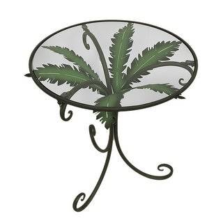Metal Palm Leaf Curved Leg Glass Top Accent Table 24 inch - Brown