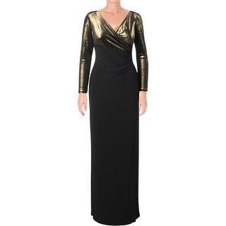 Lauren Ralph Lauren Womens Cicero Evening Dress Metallic Top Surplice