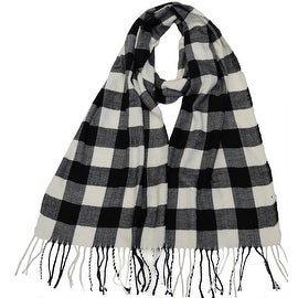 Winter Fall Cold Weather Irish Plaid Long Cashmere Feel Scarf, Black White