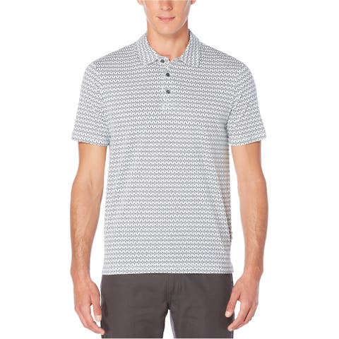 Perry Ellis Mens Paragon Striped Rugby Polo Shirt, Black, Large