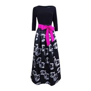 Jessica Howard Women's Floral-Print Taffeta Ball Gown - Black/Grey