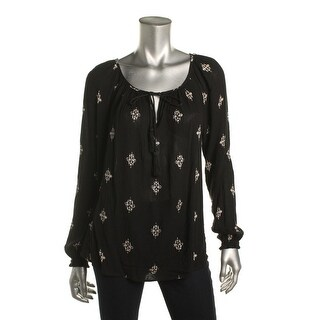 Velvet Womens Casual Top Printed Embellished