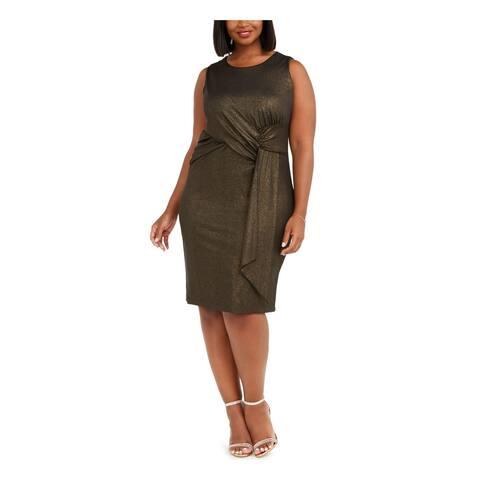 TAYLOR Womens Black Sleeveless Midi Sheath Cocktail Dress Size 16W