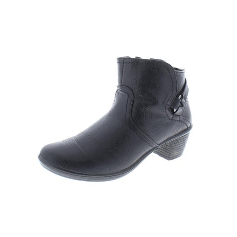 Easy Street Womens Dawnta Booties Faux Leather Heels