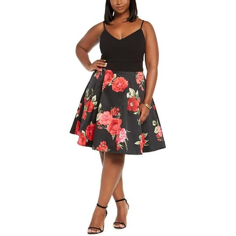 B. Darlin Womens Plus Cocktail Dress Floral Mesh - Black/Red/Black